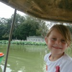 LIly, in our boat. Rory slept through the boat rides in her stroller.