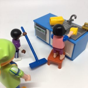 toy kids doing chores